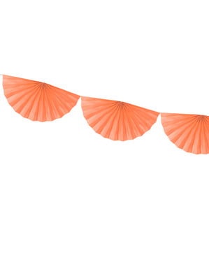 Decorative paper fan garland in peach