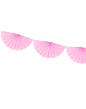 Decoratieve papieren waaier slinger in het pastel roze