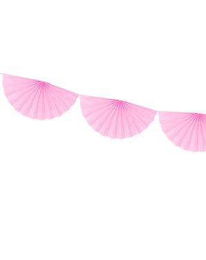 Pastelowo różowa girlanda papierowe wachlarze dekoracyjne