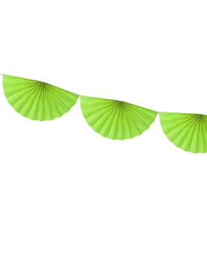 Decorative paper fan garland in light green