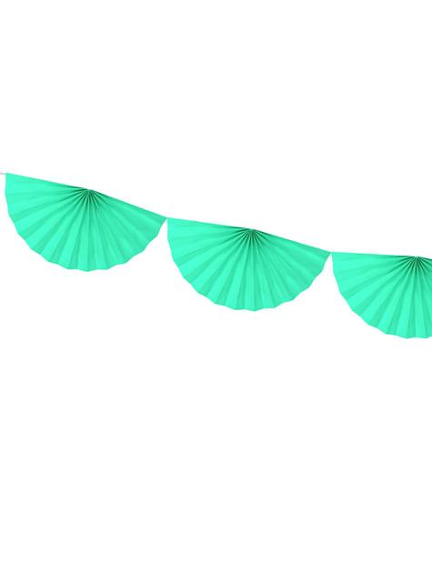 Guirnalda de abanicos de papel decorativos verde menta claro - para tus fiestas