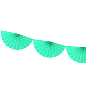 Decorative paper fan garland in light mint green