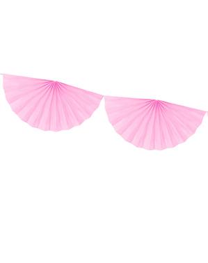 Guirnalda de abanicos grandes de papel decorativos rosa pastel