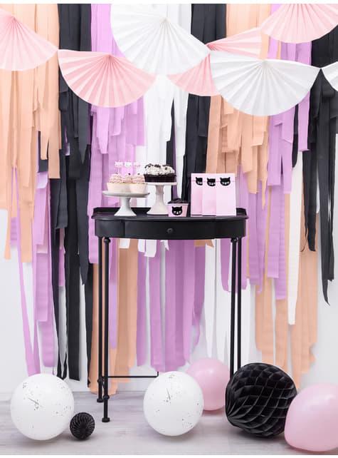 Guirnalda de abanicos grandes de papel decorativos rosa pálido - barato