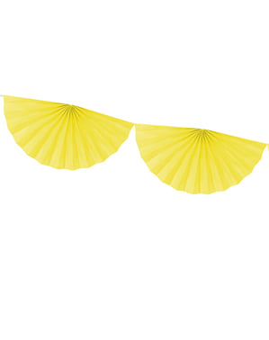 Big decorative paper fan garland in yellow