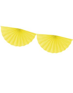 Grote decoratieve papieren waaier slinger in het geel