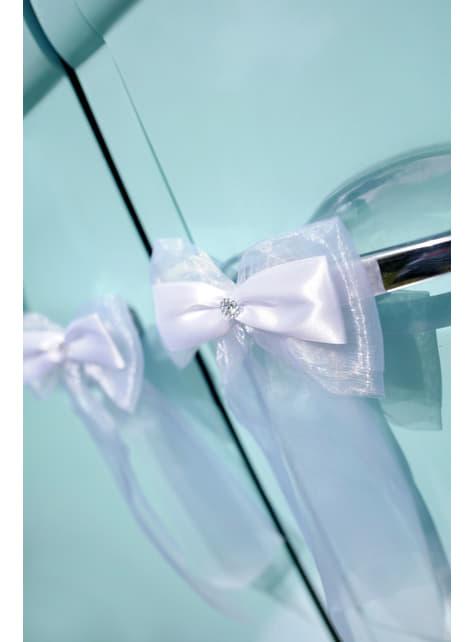 2 nœuds doubles blancs pour voiture des mariés