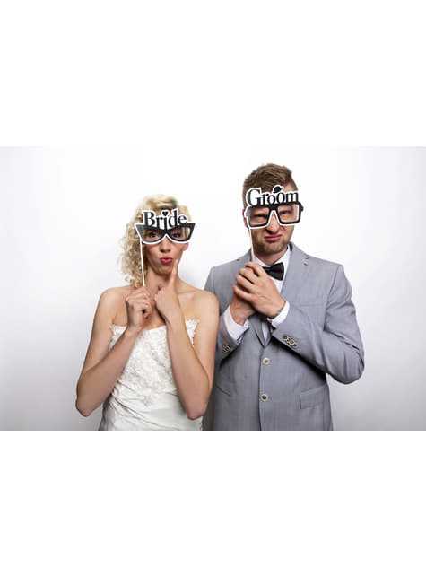 2 Bride & Groom Photo Booth Glasses