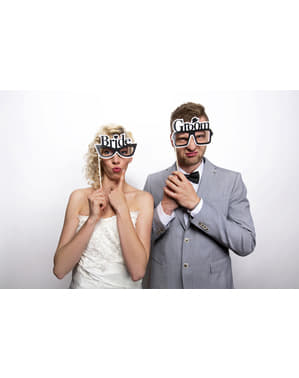 2 개의 신부 & 신랑 사진 부스 안경 세트