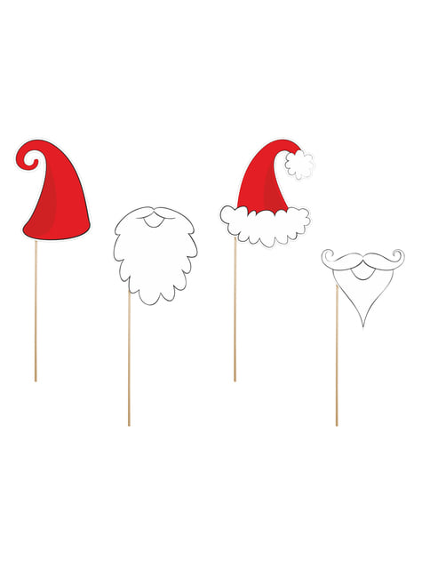4 Santa Claus Photo Booth Props - Christmas