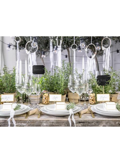 4 marcasitios de pizarras para mesa de boda - Natural Wedding - para decorar todo durante tu fiesta