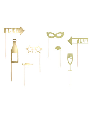 8 Assorted Photo Booth Props, Gold - Happy New Year Collection