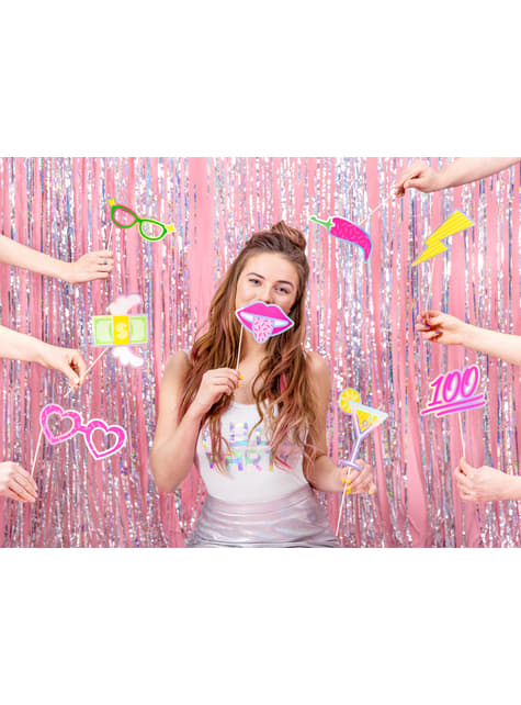 Set of 8 Assorted Colors Photo Booth Props - Electric Holo