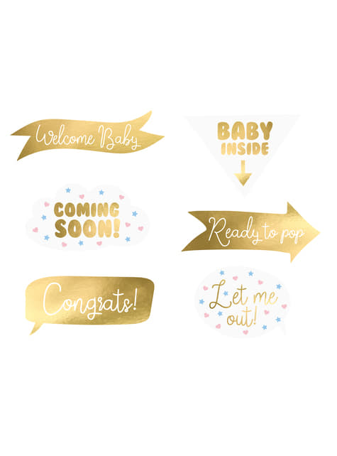 Baby Shower Photocall Set 6-teilig gemischt gold - Gender Reveal Party