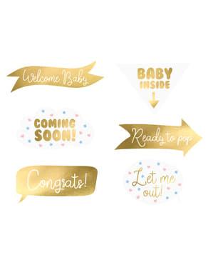 6 piese diferite aurii baby shower pentru photobooth - Gender Reveal Party