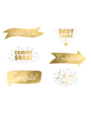 6 Baby Shower Photo Booth Props, Gold - Gender Reveal Party