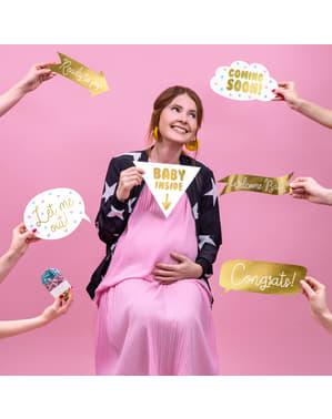 6 vauvakutsut valokuvauskoppi lavastetta, kultainen - Gender Reveal Party