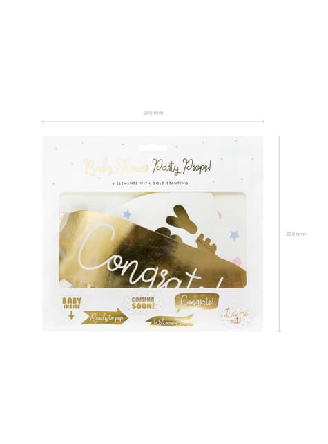 6 pezzi vari dorati per photocall per baby shower - Gender Reveal Party