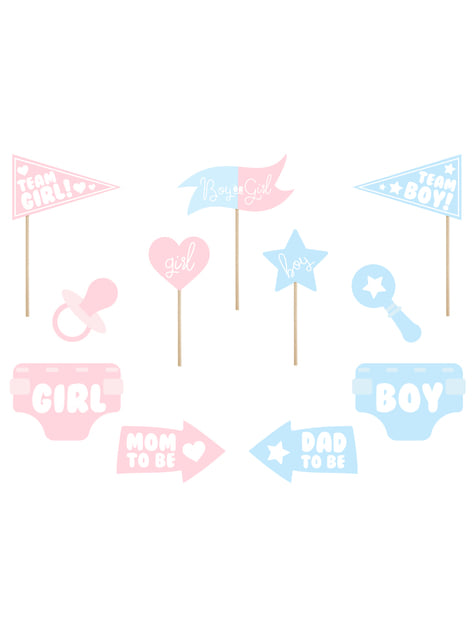11 Assorted Baby Shower Photo Booth Props, Blue & Pink - Gender Reveal Party