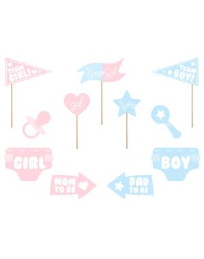 11 olika blå och rosa artiklar baby shower till photocall - Gender Reveal Party