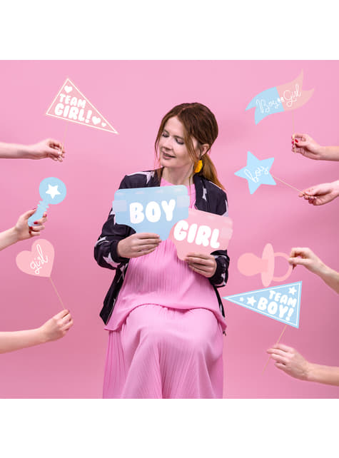 11 sekalaista vauvakutsu valokuva rekvisiittaa, sininen & pinkki - Gender Reveal Party