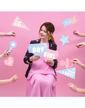 Set 11 různých modrých & růžových fotodoplňků s tématikou baby shower - Gender Reveal Party