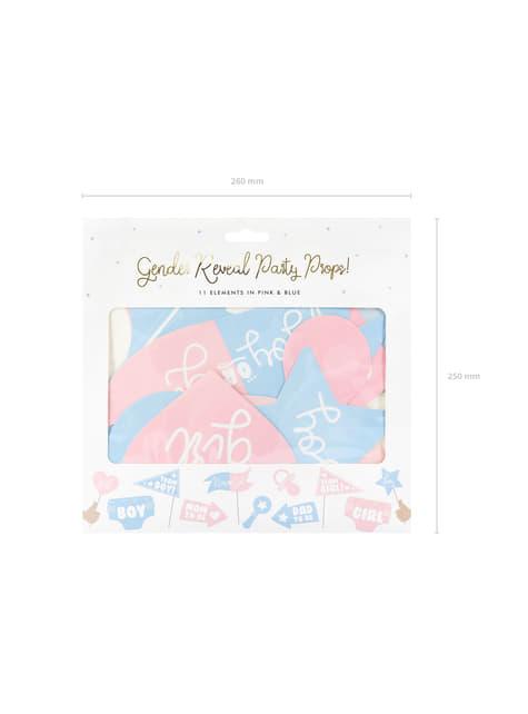 11 pièces variés bleu et rose de baby shower pour photobooth - Gender Reveal Party
