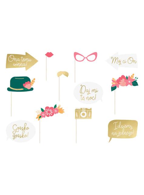 12 accessoires multicolore mariage pour photobooth