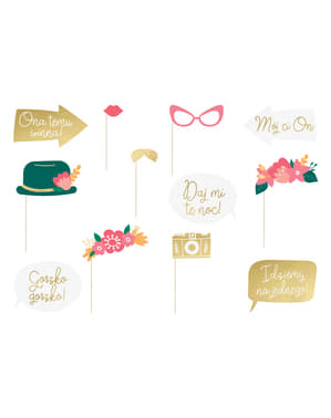 12 accesorios photocall multicolor de boda