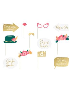 Комплект от 12 многоцветни сватбени фото реквизит