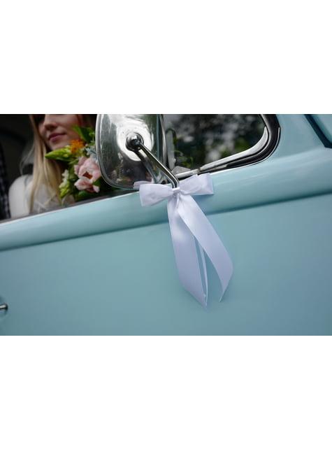 2 nœuds blancs avec détails gris de 14 cm pour voiture des mariés