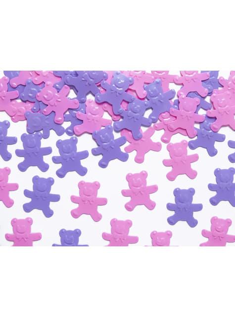 Confeti con forma de osito en tonos rosas para mesa