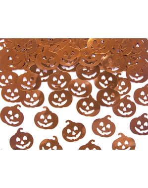 Confeti con forma de calabaza naranja metálico para mesa