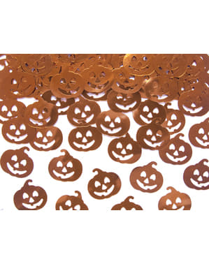 Pomarańczowe foliowe konfetti na stół dynia