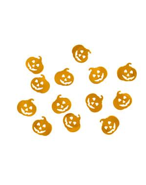 Konfetti i form av pumpor orange metallic till bordsdukning