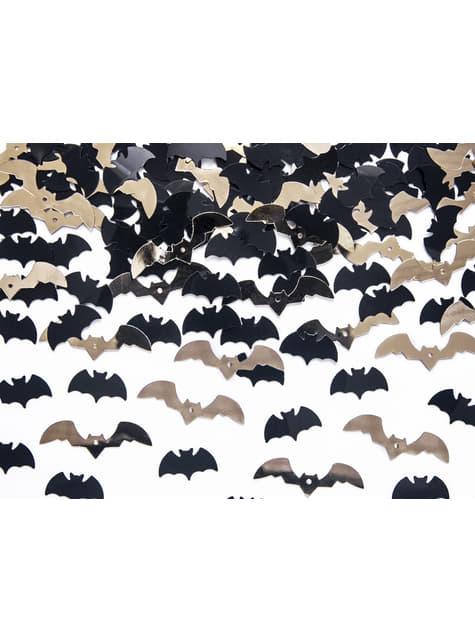 Confeti con forma de murciélago negro y dorado para mesa - Halloween