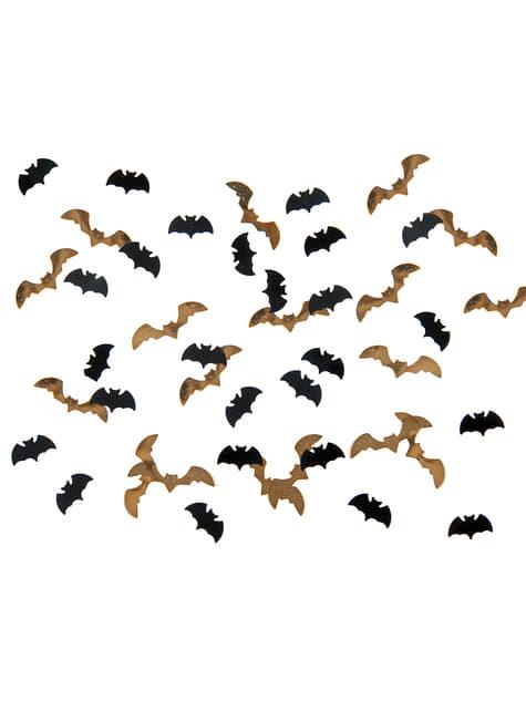 Confeti con forma de murciélago negro y dorado para mesa - Halloween - para tus fiestas