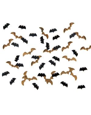 Konfetti i form av fladdermöss svart och guldfärgade till bordsdukning - Halloween