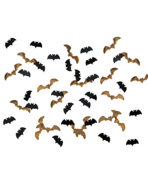 Tischkonfetti in Fledermaus-Form schwarz-gold - Halloween