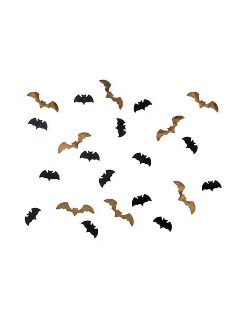 Confeti con forma de murciélago negro y dorado para mesa - Halloween - barato