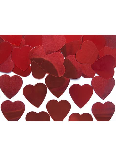 Confeti con forma de corazón rojo metálico de 25 mm para mesa - Valentine's Day