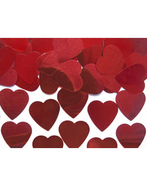 Confetes com forma de coração vermelho metálico de 25 mm para mesa - Valentine's Day