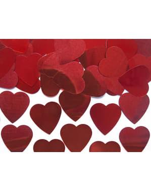 Foliowe konfetti na stół czerwone serca 25mm - Valentine's Day