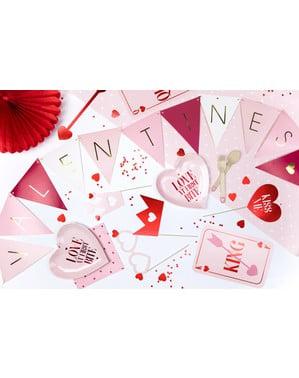 Confetti cu formă de inimă roșu metalizat de 25 mm pentru masă - Valentine's Day
