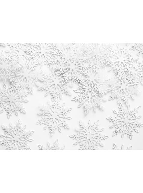 Sneeuwvlok papieren tafel confetti, wit - Kerstmis