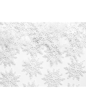 Lumihiutaleen muotoista paperista pöytäkonfetia, valkoinen - Christmas