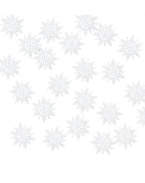 Białe papierowe konfetti na stół śnieżynka - Christmas