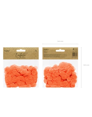 Confeti redondo naranja de papel para mesa