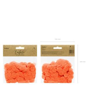 Pyöreä paperinen pöytäkonfetti oranssina