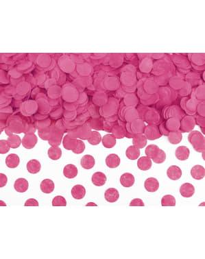 Confeti redondo fucsia de papel para mesa